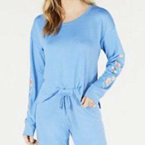 Jenni Intimates Womens Pajama Top L Blue Embroider